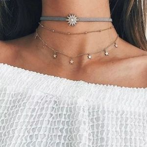 5 for $25 Three Layer Sun Star Choker Necklace